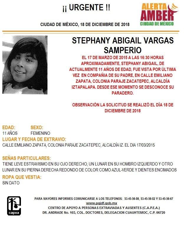 Alerta Amber para localizar a Stephany Abigaíl Vargas Samperi