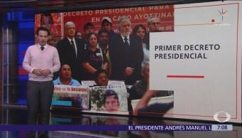 AMLO firma primer decreto de su Presidencia