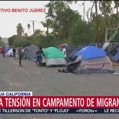 Autoridades de Tijuana advierten a migrantes que retiren su campamento