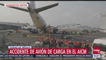 Avión sufre daño tras desplome de tren de aterrizaje en el AICM