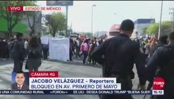 Bloqueo de trabajadores de Naucalpan afecta vialidad