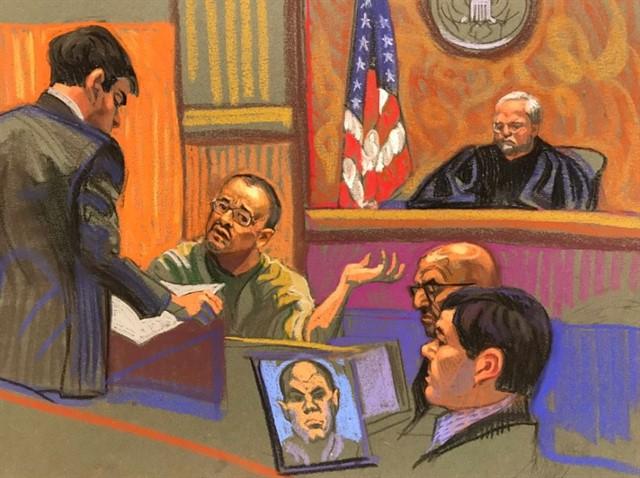 Boceto de el capo colombiano Jorge Cifuentes 'El J' durante su declaración en la corte de Brooklyn (Reuters)