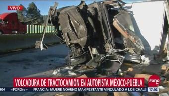 Caos vía por accidentes en autopista México-Puebla
