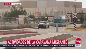Caravana migrante entrega pliego petitorio en el consulado de EU en Tijuana