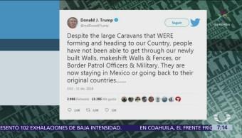 Caravanas migrantes no han podido atravesar los muros, dice Donald Trump