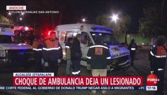 Choque De Ambulancia Deja Un Herido En Iztapalapa, Choque De Ambulancia Deja Un Herido Iztapalapa, Alcaldía De Iztapalapa, Cdmx