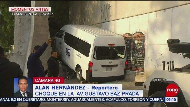Choque de unidad de transporte público deja 9 heridos en Tlalnepantla, Edomex