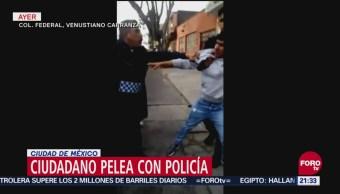 Ciudadano Pelea Con Policía En Ciudad De México, Ciudadano Pelea Con Policía, Ciudad De México, Secretaría De Seguridad Pública, Alcaldía Venustiano Carranza
