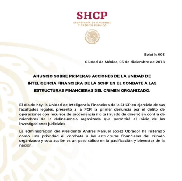 Comunicado de la SHCP. (@SHCP_mx)