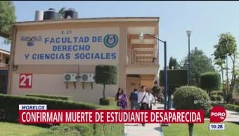 Confirman muerte de estudiante desaparecida en Morelos