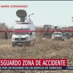 Continúa dispositivo de seguridad en zona de accidente de aeronave en Puebla