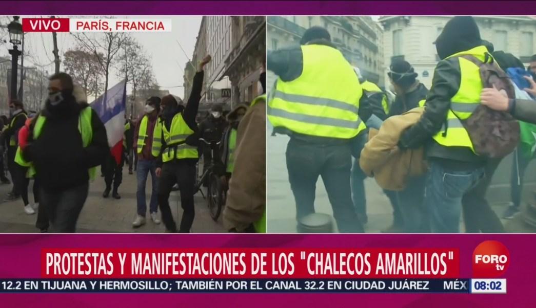 Continúan Los Disturbios En París Por Los Chalecos Amarillos, Continúan Los Disturbios En París Chalecos Amarillos, Policía De París Lanza Gas Lacrimógeno, Replegar Protesta