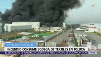Corto circuito pudo causar incendio en bodega de Toluca