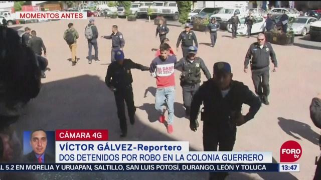 Detienen a dos presuntos asaltantes en la colonia Guerrero, CDMX
