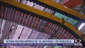 Diario 'El Nacional' de Venezuela imprime última edición en papel