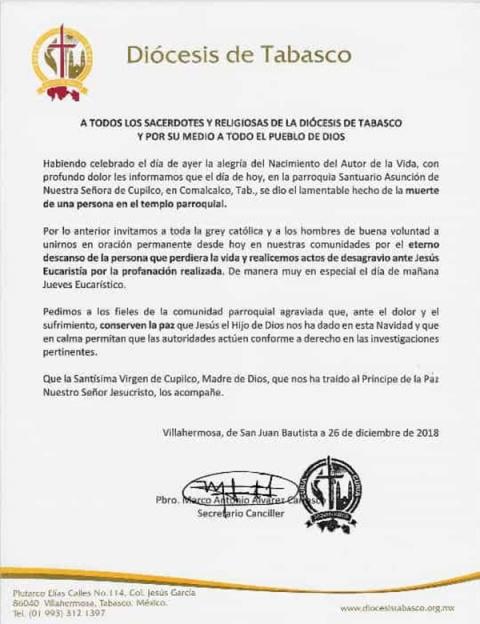 diocesis tabasco mujer asesinada