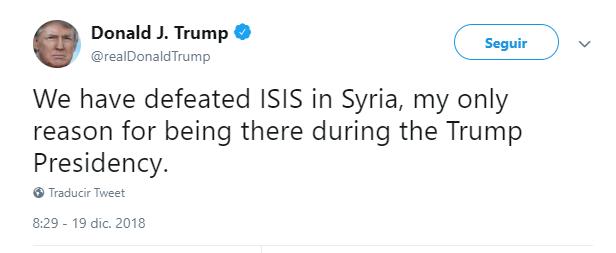 Donald Trump tuitea sobre sus tropas en Siria. (@realDonaldTrump)