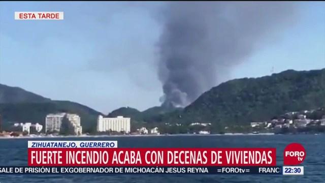 Fuerte incendio afectado 100 viviendas en Zihuatanejo, Guerrero