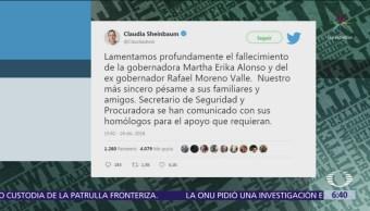Gobernadores lamentan muerte de Martha Érika Alonso