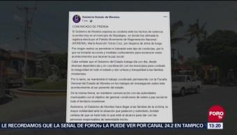 Gobierno de Morelos lamenta asesinato de regidora