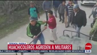 Huachicoleros agreden a militares en Puebla