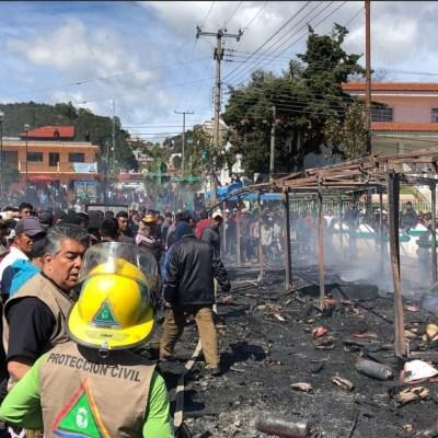 Reportan saldo blanco tras incendio por pirotecnia en San Juan Chamula, Chiapas