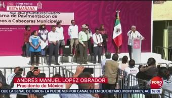Amlo Presenta Programa De Pavimentación De Caminos En Oaxaca, Amlo, Programa De Pavimentación De Caminos, Oaxaca, Presidente, Andrés Manuel López Obrador, Cabeceras Municipales