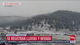 Nieva en la localidad de La Rosilla, municipio de Guanaceví, Durango
