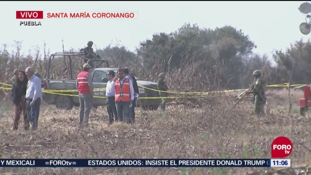Llegan peritos canadienses al lugar del accidente aéreo en Puebla