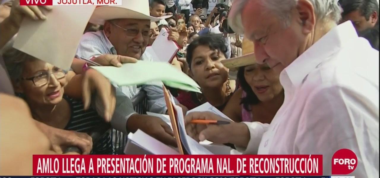 López Obrador llega a presentación de Programa de Reconstrucción en Jojutla, Morelos