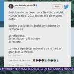 Meade pide reflexionar decisión de cancelar NAIM en Texcoco