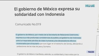 México expresa condolencias a Indonesia por tsunami