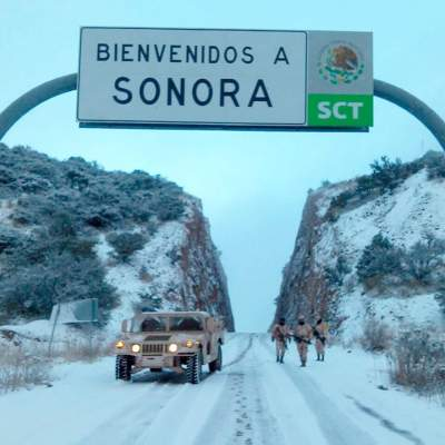 Cae la primera nevada de la temporada en Cananea, Sonora