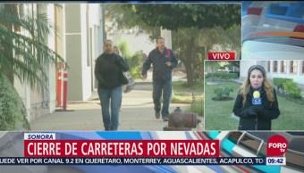 Nevadas han provocado el cierre de carreteras en Sonora