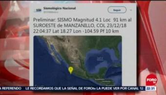 Ocurre Sismo Magnitud 4.1 En Colima, Sismo, Magnitud 4.1, Colima, Puerto De Manzanillo, 91 Kilómetros Al Suroeste