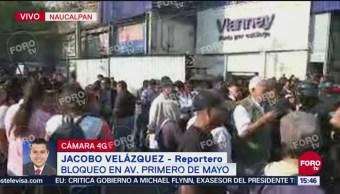 Policías municipales de Naucalpan intentan abrir la vialidad