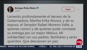 Reacciones Muerte Gobernadora Puebla Martha Erika Rafael Moreno