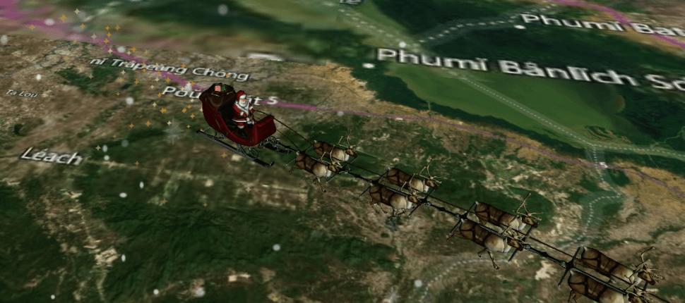 Santa Claus reparte regalos con ayuda de sus renos