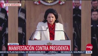 Se manifiestan contra la presidenta de Georgia