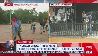 Se registran disturbios en Rectoría de la UNAM