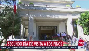 Segundo día de visita a Los Pinos en Ciudad de México