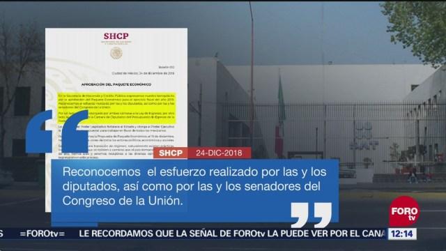SHCP expresa beneplácito por Paquete Económico 2019