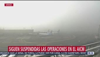 Siguen suspendidas las operaciones en AICM por neblina