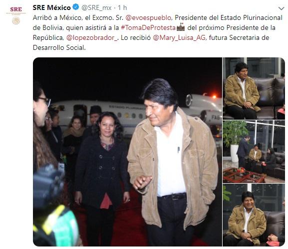 Arriba Evo Morales a México para investidura de AMLO