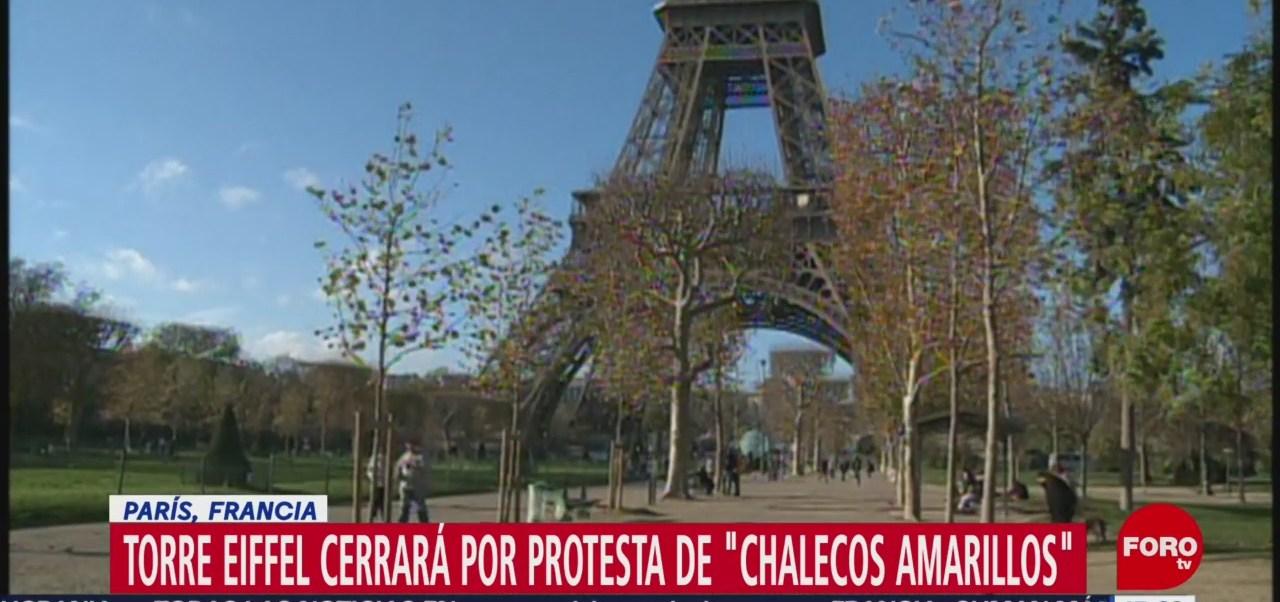 Torre Eiffel cerrará el sábado por protesta de 'chalecos amarillos'