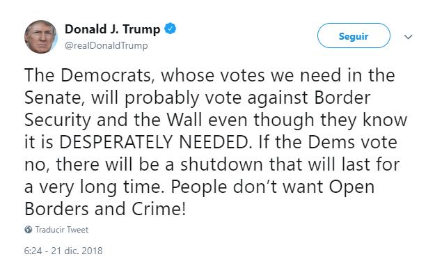 Trump lanza una advertencia a los demócratas. (@realDonaldTump)