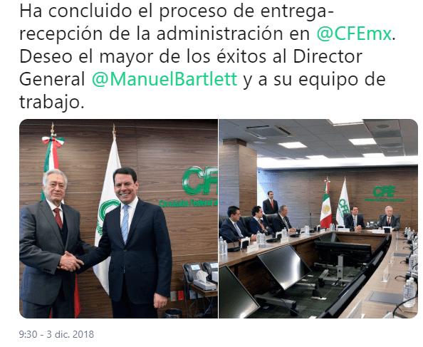 Manuel Bartlett ya es director de CFE