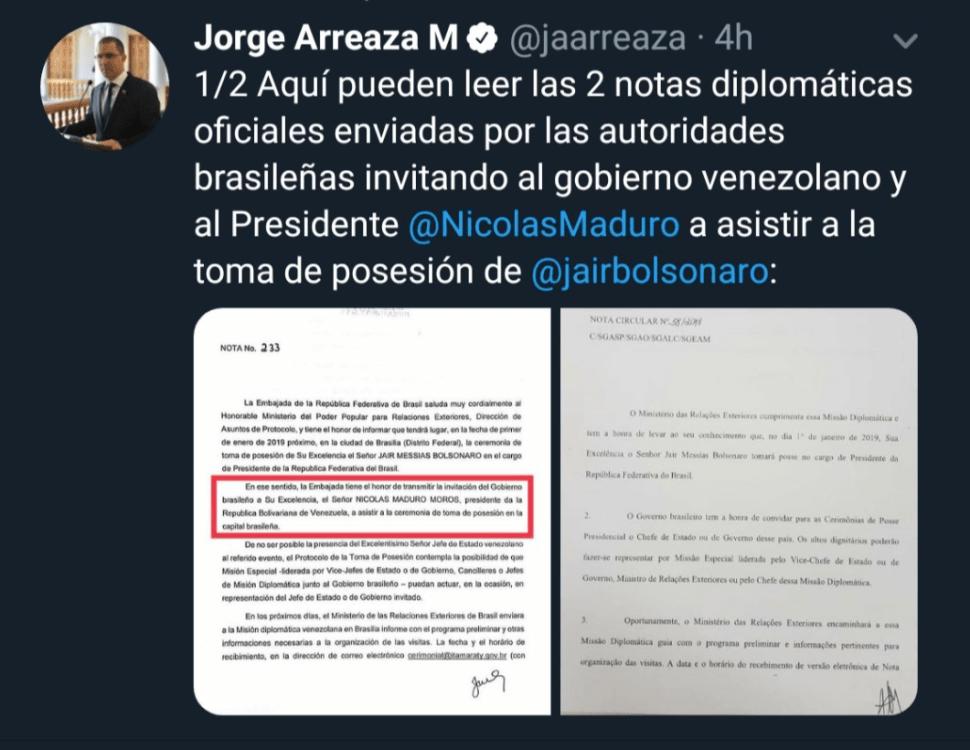 Tuit del canciller venezolano sobre la invitación a Maduro. (@jaarreaza)
