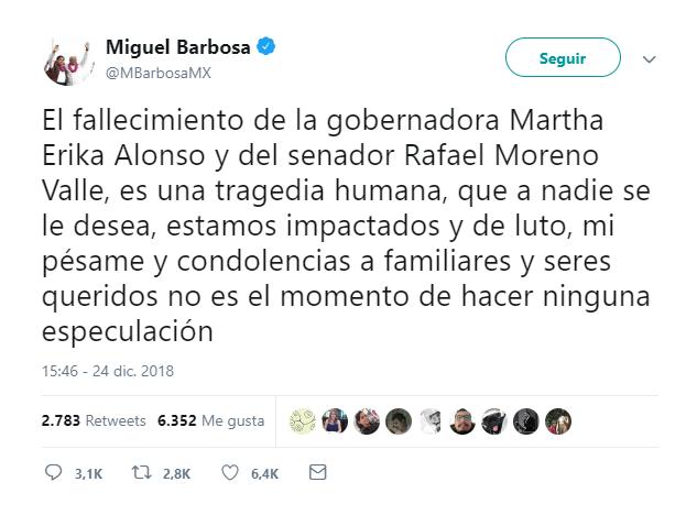No es tiempo para especular, señala Luis Miguel Barbosa