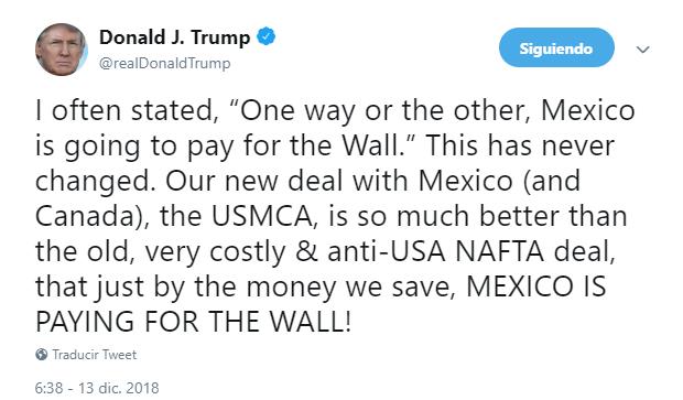 """Trump: México pagará muro con """"nuevo"""" acuerdo comercial"""